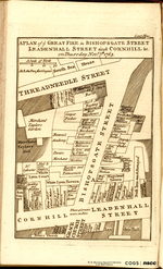 A PLAN of ye GREAT FIRE in BISHOPSGATE STREET LEADENHALL STREET and CORNHILL, &c. on Thursday Nov'r. 7th. 1765