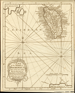 A MAP of the Island of DOMINICA, taken from an actual Survey: Also Part of Martinico & Guadalupe shewing their true bearing & distance from each other, By Tho's Bowen