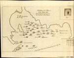 Station of the Ships in PORT PRAYA BAY, when the Engagement began between Com'e Johnstone & M. de Suffrien