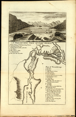 A PERSPECTIVE VIEW OF LAKE GEORGE [on sheet with] Plan of Ticonderoga